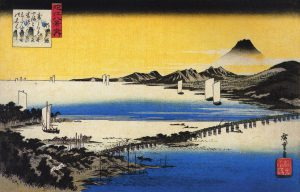 Hiroshige_View_of_a_long_bridge_across_a_lake